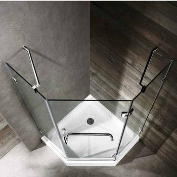 "Vigo 38"" x 38"" Frameless Neo-Angle 3/8"" Clear/Chrome Shower Enclosure with White Base"