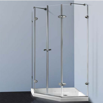 "Vigo Shower Enclosure with Low-Profile Base, 42 1/8"" W x 42 1/8"" L x 76 3/4"" H"