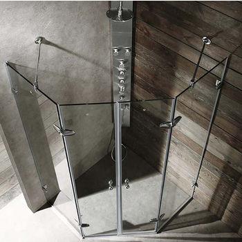 """Vigo 47"""" x 47"""" Frameless Neo-Angle 3/8"""" Clear/Chrome Shower Enclosure"""