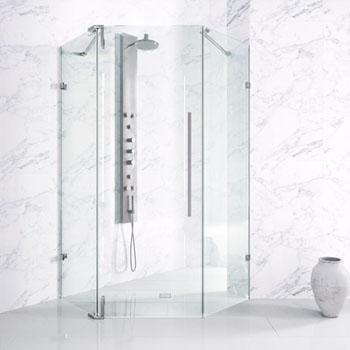 Shower Enclosure w/ Chrome Hardware & No Base