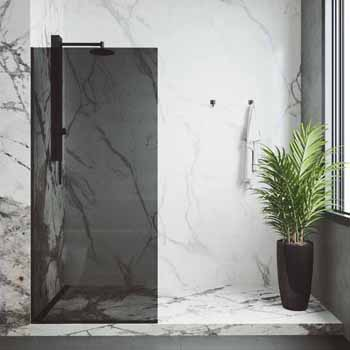Zenith Frameless Fixed Glass Shower Screen in Matte Black with Black Glass