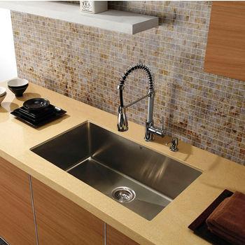 "30"" Undermount Stainless Steel 16 Gauge Single Bowl Sink"