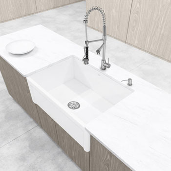 30 33 Or 36 Width Casement Front Matte Stone Farmhouse Kitchen Sink By Vigo Industries Kitchensource Com