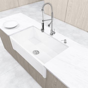 "33"" Matte Stone Farmhouse Sink"