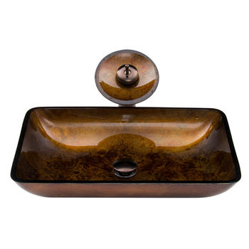 """Vigo VIG-VGT007RBRCT, Rectangular Russet Glass Vessel Sink and Waterfall Faucet Set in Oil Rubbed Bronze, 22-1/4"""" W x 14-1/2"""" D x 4-1/2"""" H"""