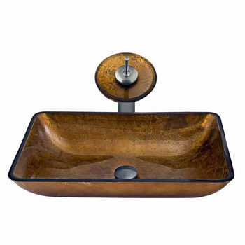 Vigo Rectangular Copper Glass Vessel Sink And Waterfall Faucet Set in Brushed Nickel