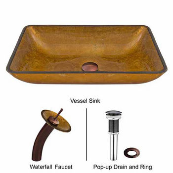 """Vigo Rectangular Copper Glass Vessel Sink And Waterfall Faucet Set In Oil Rubbed Bronze - 14-1/8""""L x 22-1/4""""W x 4-1/2""""H"""