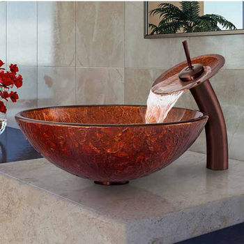 """Vigo Mahogany Moon Glass Vessel Sink And Waterfall Faucet Set In Oil Rubbed Bronze - 16-1/2"""" Diameter x 6""""H"""