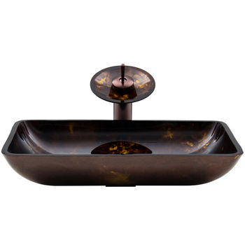 "Vigo VIG-VGT033RBRCT, Rectangular Brown and Gold Fusion Glass Vessel Sink and Waterfall Faucet Set in Oil Rubbed Bronze, 22-1/4"" W x 14-1/2"" D x 4-1/2"" H"