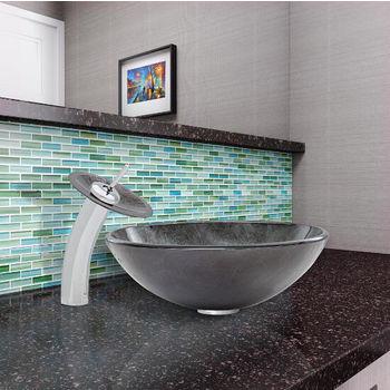 Gray Onyx Glass Vessel Sink Set Waterfall Faucet Set