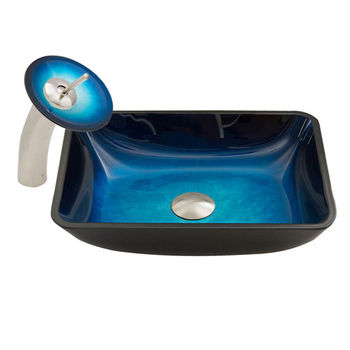 Vigo 18-1/4'' W Rectangular Turquoise Water Glass Vessel Sink and Waterfall Faucet Set in Brushed Nickel Finish, 18-1/4'' W x 13'' D x 4'' H
