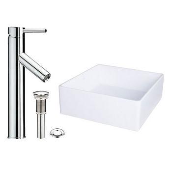 Vigo Bavaro Composite Vessel Sink and Dior Bathroom Vessel Faucet Set in Chrome w/ Pop up Drain, 14-1/2'' W x 14-1/2'' D x 5'' H