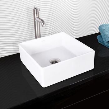 Vigo Bavaro Composite Vessel Sink and Seville Bathroom Vessel Faucet Set in Brushed Nickel w/ Pop up Drain, 14-1/2'' W x 14-1/2'' D x 5'' H