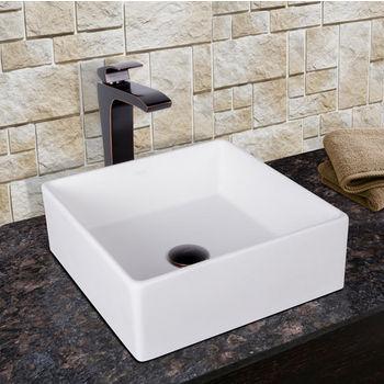 Vigo Bavaro Composite Vessel Sink and Linus Bathroom Vessel Faucet Set in Antique Rubbed Bronze w/ Pop up Drain, 14-1/2'' W x 14-1/2'' D x 5'' H