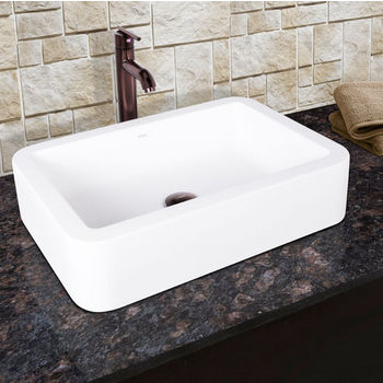 Vigo Navagio Composite Vessel Sink and Seville Bathroom Vessel Faucet Set in Oil Rubbed Bronze w/ Pop up Drain, 23'' W x 16'' D x 5-3/8'' H