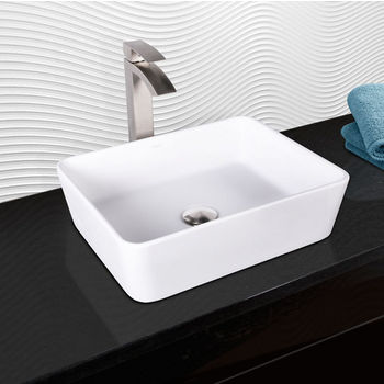 Vigo Sirena Composite Vessel Sink and Duris Bathroom Vessel Faucet Set in Brushed Nickel w/ Pop up Drain, 18'' W x 14-1/2'' D x 5'' H