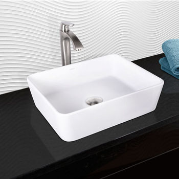 Vigo Sirena Composite Vessel Sink and Linus Bathroom Vessel Faucet Set in Brushed Nickel w/ Pop up Drain, 18'' W x 14-1/2'' D x 5'' H