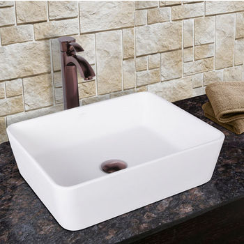 Vigo Sirena Composite Vessel Sink and Otis Bathroom Vessel Faucet Set in Oil Rubbed Bronze w/ Pop up Drain, 18'' W x 14-1/2'' D x 5'' H