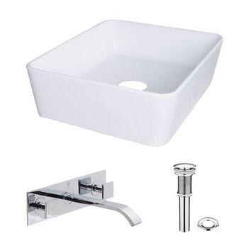 Vigo Sirena Composite Vessel Sink and Titus Chrome Finish Dual Lever Wall Mount Faucet Set w/ Pop up Drain, 18'' W x 14-1/2'' D x 5'' H