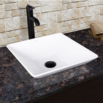 Vigo Matira Composite Vessel Sink and Seville Bathroom Vessel Faucet Set in Matte Black w/ Pop up Drain, 16'' W x 16'' D x 4-5/8'' H