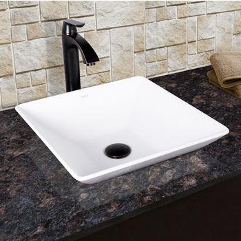Vigo Matira Composite Vessel Sink and Linus Bathroom Vessel Faucet Set in Antique Rubbed Bronze w/ Pop up Drain, 16'' W x 16'' D x 4-5/8'' H