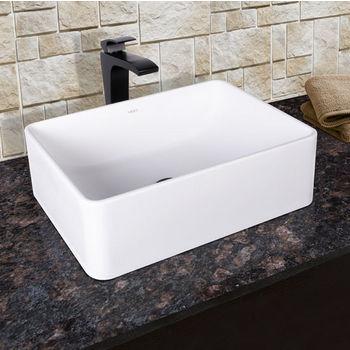 Vigo Caladesi Composite Vessel Sink and Blackstonian Bathroom Vessel Faucet Set in Matte Black w/ Pop up Drain, 19-5/8'' W x 14-1/2'' D x 6-1/8'' H