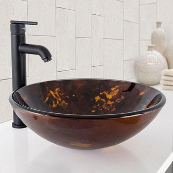 "Vigo Brown and Gold Fusion Glass Vessel Bathroom Sink Set with Seville Vessel Faucet in Matte Black, 16-1/2"" Diameter x 6"" H"