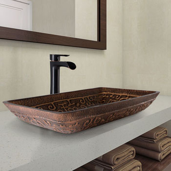 "Vigo Rectangular Golden Greek Glass Vessel Bathroom Sink Set with Niko Vessel Faucet in Antique Rubbed Bronze, 22-1/4"" W x 14-1/2"" D x 4-1/2"" H"