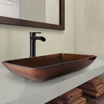 22 W Rectangular Russet Glass Vessel Bathroom Sink Set With Niko Or Norfolk Vessel Faucet Option By Vigo Industries Kitchensource Com