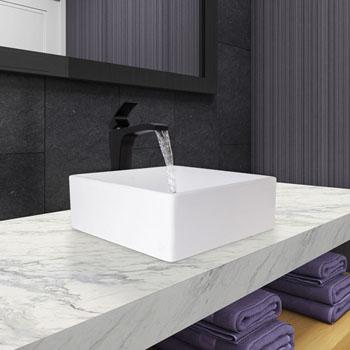 """Vigo Dianthus Matte Stone Vessel Bathroom Sink Set with Blackstonian Vessel Faucet in Matte Black, 14-1/2"""" W x 14-1/2"""" D x 5"""" H"""