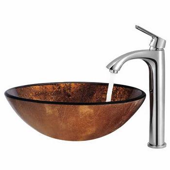 Vigo Russet Glass Vessel Sink and Faucet Set