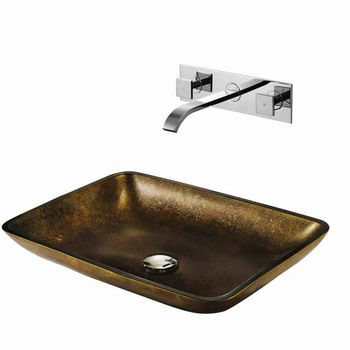 Vigo Copper Glass Vessel Sink and Faucet Set, Widespread Wall Mounted