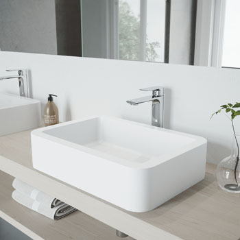 Vigo Sink with Norfolk Faucet Lifestyle View 1