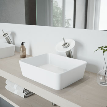 Vigo Sink with Waterfall Faucet Lifestyle View 2
