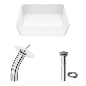 Vigo Sink with Waterfall Faucet Display View 2