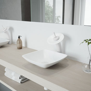 Vigo Sink with White Waterfall Faucet Lifestyle View 1