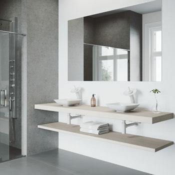 Vigo Sink with White Waterfall Faucet Lifestyle View 2