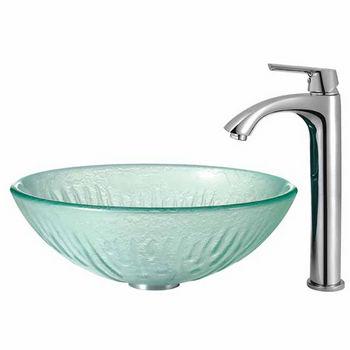 Vigo Icicles Glass Vessel Sink and Faucet Set