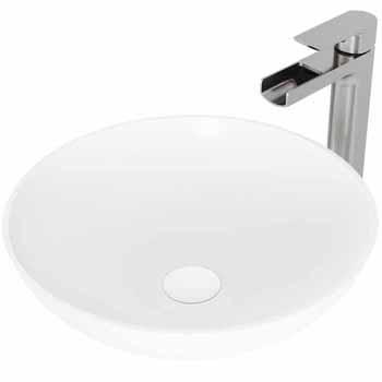 Sink & Amada Bathroom Faucet in Brushed Nickel & Pop-Up Drain
