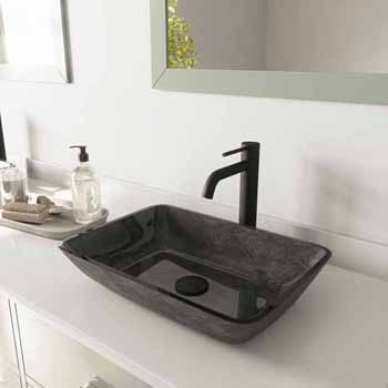 Sink & Lexington cFiber Vessel Faucet Set in Matte Black w/ Pop-Up Drain