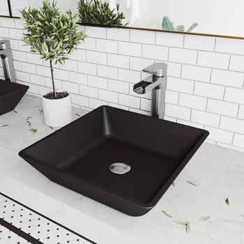 Sink & Amada Vessel Faucet Set in Chrome w/ Pop-Up Drain