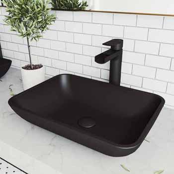 Sink & Amada Vessel Faucet Set in Matte Black w/ Pop-Up Drain
