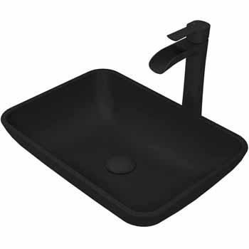 Sink & Niko Vessel Faucet Set in Matte Black w/ Pop-Up Drain