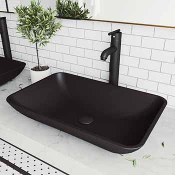 Sink & Seville Vessel Faucet Set in Matte Black w/ Pop-Up Drain