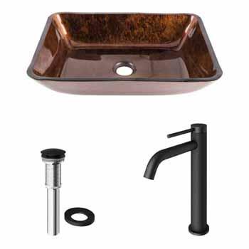 Sink Set & Lexington cFiber Vessel Faucet w/ Drain in Matte Black