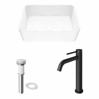 Sink & Lexington cFiber Vessel Bathroom Faucet in Matte Black w/ Pop-Up Drain