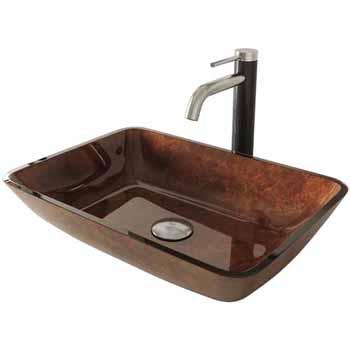 Sink & Lexington cFiber Vessel Faucet Set in Brushed Nickel w/ Pop-Up Drain