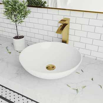 Sink & Duris Vessel Faucet in Matte Brushed Gold w/ Pop-Up Drain