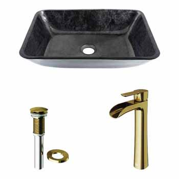Sink & Niko Vessel Faucet in Matte Brushed Gold w/ Pop-Up Drain