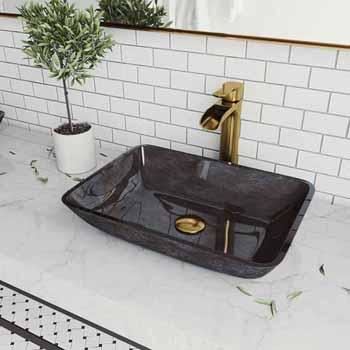 Sink & Niko Vessel Faucet in Matte Brushed Gold w/ Pop-Up Drain